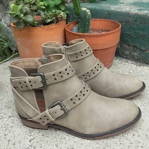 Taupe Cut-Out Buckle Ankle Booties